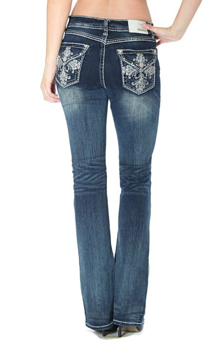 Grace In La - Cross Pattern Bootcut Jeans