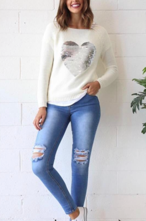 Sequin Heart Knit