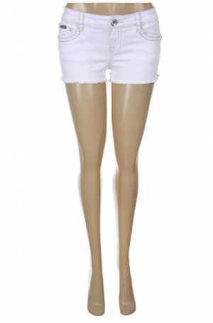 La Idol - White Embellished Shorts