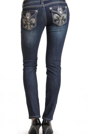 Grace in LA - Fleur triple stitch flap pocket bootleg jeans