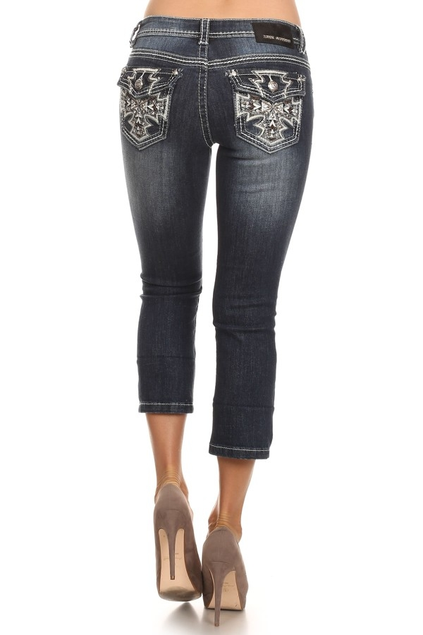 Denim Couture - Cross Pattern Capris
