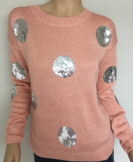 Peach Sequin Knit