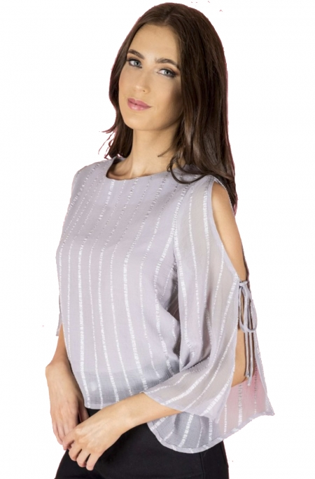 Textured Sleeve Tie Top - Grey Blue